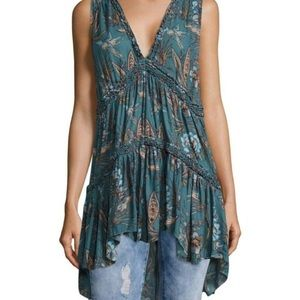 Free people Purple Haze tunic Hummingbird Print